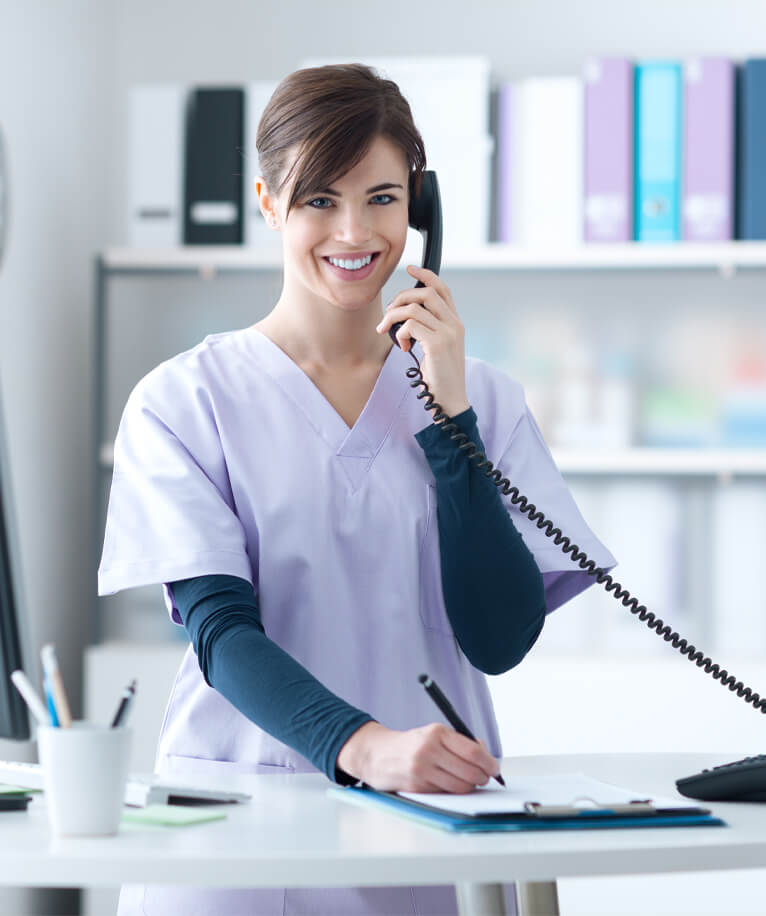 dental office receptionist on the phone