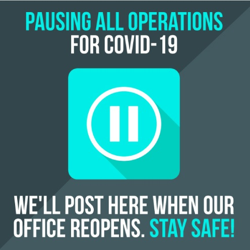 COVID-19 graphic saying the office is closed