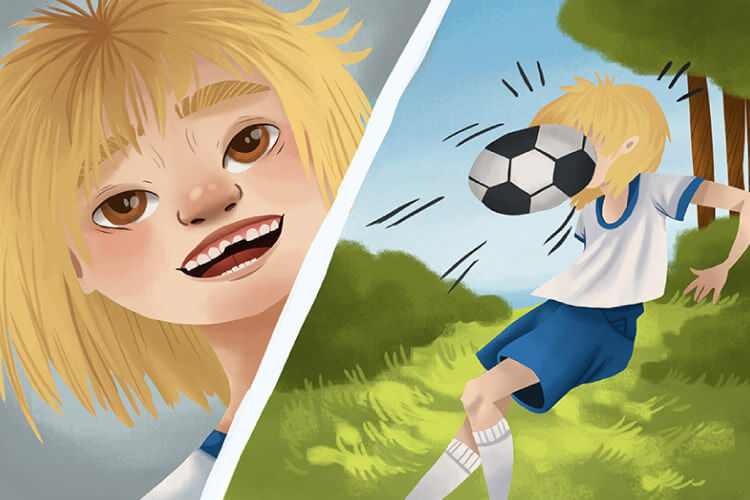 Split screen cartoon or blond child getting hit in the face with a soccer ball & showing a chipped tooth as a result