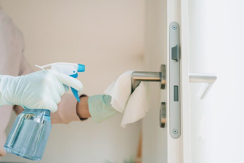 Sanitizing door handle
