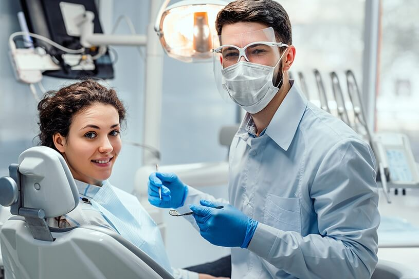 Patient and hygienist